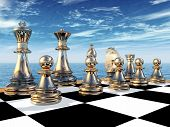 pic of chessboard  - Computer generated 3D illustration with chessboard and chess figures - JPG
