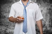 Man With Alcohol In Hand Grunge