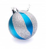 blue-silver christmas ball on white background