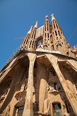 Barcelona, Spain - August 27, 2014: La Sagrada Familia, The Cathedral Designed By Antoni Gaudi, Whic