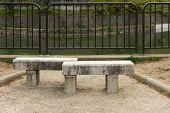 Stone bench near river, Kyoto, Japan.