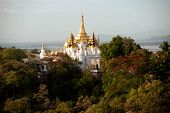 View Of Pagoda From Sagaing Hill,sagaing Division,myanmar.
