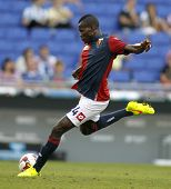 BARCELONA - AUG, 17: Isaac Cofie of Genoa CFC in action during a friendly match against RCD Espanyol at the Estadi Cornella on August 17, 2014 in Barcelona, Spain