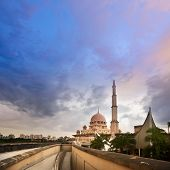 Tranquility landscape with mosque and clouds in Putrajaya, Malaysia, Asia.