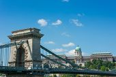 Chain Bridge Budapest Hungary With Old Castle Palace In The Background