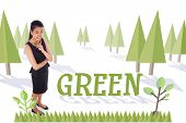 The word green and thoughtful businesswoman against forest with earth tree