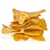 Salted  chip nacho snack with pepper isolated on white background