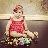 Baby Girl with cake - instagram effect