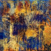 art abstract colorful acrylic and pencil background in blue, gold and orange colors