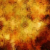 art abstract colorful acrylic and pencil background with vintage pattern in gold, red, orange and br
