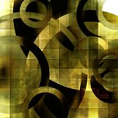 art abstract geometric textured transparent colorful background with circles in green, grey, olive, gold, white and black colors