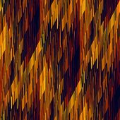 art abstract geometric diagonal seamless pattern; golden background with brown, red, black and orang
