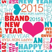Seamless happy new year 2015 background typography pattern in vector