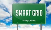 picture of smart grid  - Highway Signpost with Smart Grid wording on Sky Background - JPG