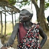 MANGALLA, SOUTH SUDAN-JUNE 22 2012: Unidentified Dinka woman with tribal scarification in South Suda
