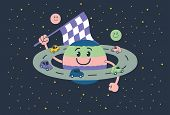 pic of saturn  - Children Illustration of a planet saturn with human features of a happy child playing slot car - JPG
