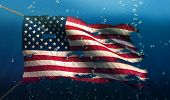 Usa America Under Water Sea Flag National Torn Bubble 3D