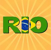 Rio flag text with sunburst vector illustration