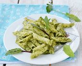 pic of sorrel  - pasta with sorrel pesto sause on white plate - JPG