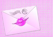 Pink Envelope Sealed With Lips