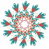 Hand-drawn ornamental round lace frame.