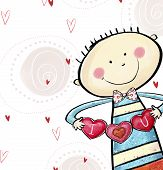I love you postcard. Cute boy with the hearts. Valentine's day greeting card. Love background. Love