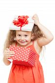 Funny Child Girl With Gift Box
