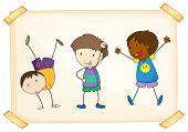 Illustration of three different boys