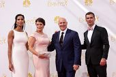 vLOS ANGELES - AUG 25:  Padma Lakshmi, Gail Simmons, Tom Colicchio, Hugh Acheson at the 2014 Primeti