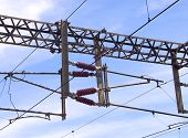 Overhead line of railway tracks