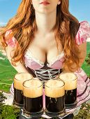 Oktoberfest Woman Holding Four Beer Mugs