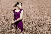 Beauty In Cornfield With Purple Dress