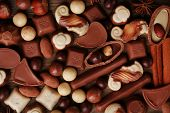 Different kinds of chocolates close-up background