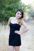 Asian American Woman Black Dress Outdoors Skinny