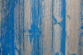 Old Wooden Shabby Chic Background With Peeled Or Flaked Color In Blue.