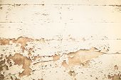 Old Wooden Nostalgic Background With Peeled Color In Beige.