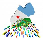 Djibouti map flag with containers illustration