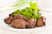 Cooked Chicken Liver With Green Onion