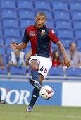 BARCELONA - AUG, 17: Sebastian De Maio of Genoa CFC in action during a friendly match against RCD Espanyol at the Estadi Cornella on August 17, 2014 in Barcelona, Spain