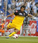 BARCELONA - AUG, 17: Mattia Perin of Genoa CFC in action during a friendly match against RCD Espanyol at the Estadi Cornella on August 17, 2014 in Barcelona, Spain