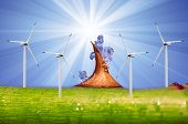 Rose thorns and shining sun in blue sky with wind turbines
