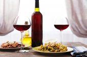 Italian pasta on table, close-up
