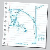 Businessman pole vaulting