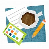 Business Planning Concept Vector Illustration. Coffee Cup and Mobile Phone with App Icons. Flat Styl