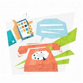 Online Support Concept Design. Retro Phone and Mobile PC. Flat Style Vector Illustration.