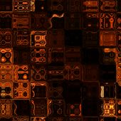 art abstract dark monochrome  geometric seamless pattern; background in brown, black and orange colo