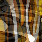 art abstract geometric textured colorful background with circles in gold, orange, black and red colo
