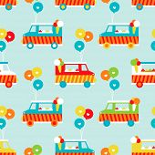 stock photo of ice-cream truck  - Seamless ice cream truck and balloon illustration background pattern in vector - JPG
