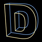 glowing letter D isolated on black background