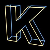 glowing letter K isolated on black background